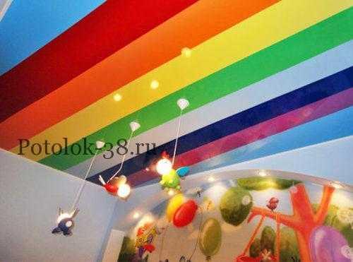 Цветной натяжной потолок в детской комнате