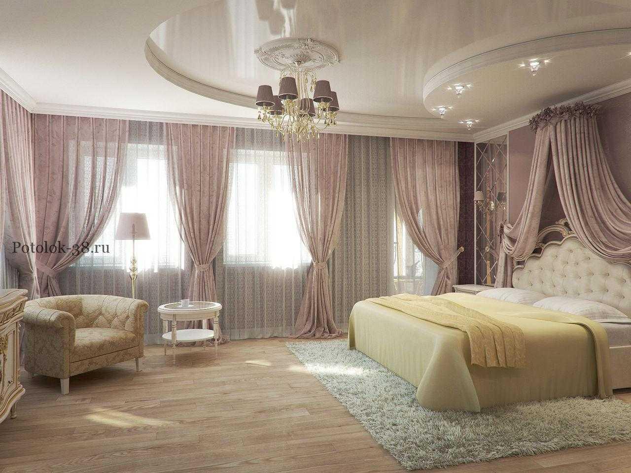 Натяжные потолки в спальню фото
