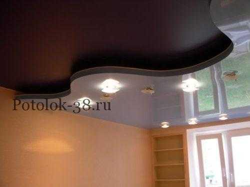 Двухуровневый натяжной потолок глянец+ мат